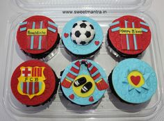 Homemade eggless personalized handcrafted FCB Barcelona football theme customized 3D designer cupcakes for friend at Kothrud, Pune