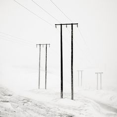 Photography by © Josef Hoflehne Powerlines during Blizzard - Iceland, 2006