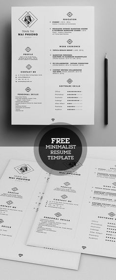 Free Minimalistic CV/Resume Templates with Cover Letter Template - 2