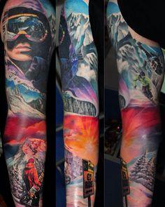 Snowboard tattoo ,snowboarding tattoo ,mountain tattoo