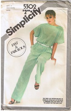 b85e2269c2a 80s Boat Neck Jumpsuit Short Kimono Sleeve Elastic Waist Sewing Pattern 10  12 14