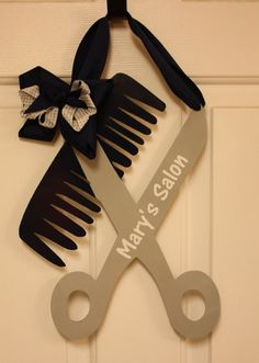 Comb and Scissors Flag or Wall Sign, beautician, Hair salon