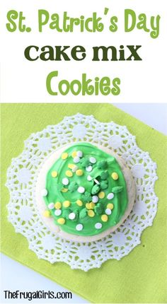 St Patrick's Day Cake Mix Cookie Recipe! ~ from TheFrugalGirls.com ~ just a few ingredients and you can whip up some super cute green cookies to add to your St Patricks Day menu! #recipes #thefrugalgirls