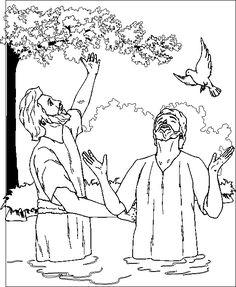 John baptizes Jesus coloring page