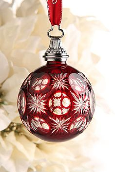 Waterford Ruby Cased Ball Ornament
