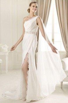 High Quality Chiffon Fabric Sheath Wedding Dress