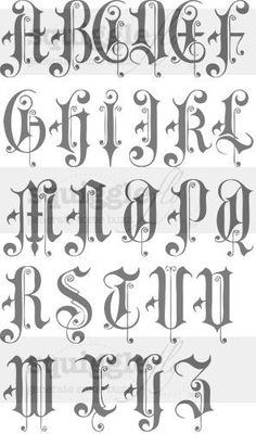 Gothic Lettering, Chicano Lettering, Graffiti Lettering Fonts, Creative Lettering, Lettering Design, Typography, Tattoo Fonts Alphabet, Hand Lettering Alphabet, Graffiti Alphabet