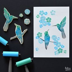 Andrea Lauren (@inkprintrepeat)   It has been a busy start to the week but I've set aside a little time this afternoon to work on these new hummingbirds! Had a lot of printing this piece by hand!   Intagme - The Best Instagram Widget