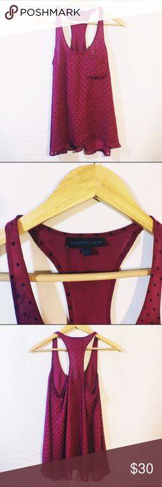 ANTHROPOLOGIE Purple silk polka dot racerback tank EUC. By Martin and osa with cute pocket Anthropologie Tops Tank Tops