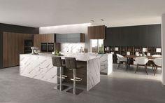 Plan de travail imitation marbre pour cette cuisine design