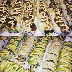 #lastnightssushi #alaynacooks #shrimptempurasushirolls #steaksushirolls Shrimp Tempura Sushi, Sushi Rolls, Zucchini, Steak, Homemade, Vegetables, Ethnic Recipes, Food, Home Made