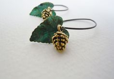 Verdigris Leaf and Golden Pinecone Dangle Earrings by 3pearls, $21.00