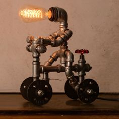 Retro Industrial Iron Steampunk Pipe Robot Desk Table Lamp Reading Light Fixture | Home & Garden, Lamps, Lighting & Ceiling Fans, Lamps | eBay!