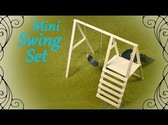 How to: Mini Swing Set – Doll Swing & Slide Tutorial - Diy furniture beds Popsicle Stick Houses, Popsicle Stick Crafts, Craft Stick Crafts, Fairy Furniture, Barbie Furniture, Dollhouse Furniture, Diy Doll Bunk Bed, Doll Beds, Bunk Beds