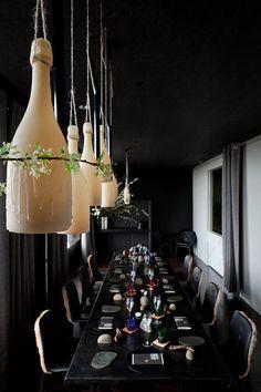 Dom Perignon beeswax bottle light sculpture for Vue de Monde