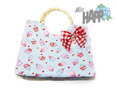 Cupcake Bamboo Handle Hand bag with Red Checkered by MissHapp