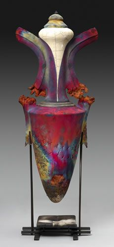 Tall Urn - Raku Vessels - I need to read up on how to do this. Fire(hee-hee) and clay. Two of my favorite things.