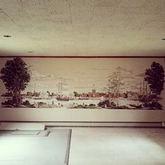 not much furniture in this basement, but the mural is very cool! another entry from 12/19 for #myparentsbasement contest
