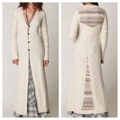 FREE PEOPLE Cardigan Maxi Jacket Long Sweater Top Size XS. Excellent Condition. $298 Retail + Tax.  Cable knit long-sleeve maxi cardigan with 4 button closure in the front. Multi-colored knitted inserts on the back.  Professionally cleaned.  No visible flaws.  Wool, Acrylic, Nylon.  Imported.  ❗️ No trades, holds or modeling.    Bundle 2+ items for a 20% discount!    Stop by my closet for even more items from this brand!  ✔️ Items are priced to sell, however reasonable offers will be…