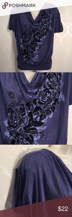 🆕EXPRESS TOP Express Top ➖ Blue Top with Cascading Velvet Flowers Down Front ➖ Short Dolman Sleeves ➖ This Top is semi sheer ... I would wear a cami or Nude bra under ➖ Banded Bottom ➖ This Top runs Big Express Tops