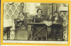 Real-Photo-Postcard-Mother-Sewing-Machine-Kids-Quilt