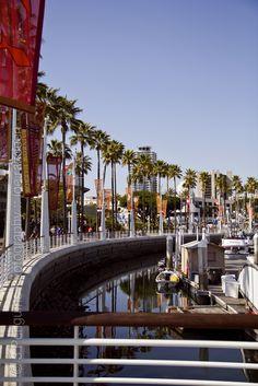 Long Beach Marina at Seaport Village, CA - The city limits bordering Seal Beach, CA
