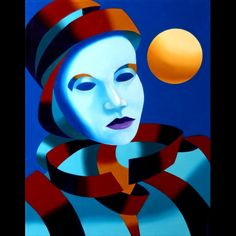 Mark Webster - Abstract Blue Mask with Gold Sphere Oil Painting Original art painting by Mark Adam Webster - DailyPainters.com