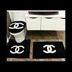 Glorious home decoration because of black bathroom rug set black bathroom rug set - Bathroom Rugs - Ideas of Bathroom Rugs Chanel Dekor, Bedroom Themes, Bedroom Decor, Decor Room, Chanel Bedroom, Chanel Bedding, Bathroom Mat Sets, Luxury Duvet Covers, Luxury Bedding