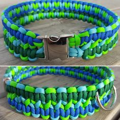 Handmade Dog Collar 550 Paracord Double Cobra Weave Dog Collar Greens and Blues by BrodsParacord on Etsy
