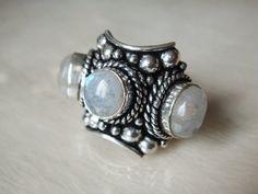 Rainbow Moonstone Ring Moonstone ring Gemstone Rainbow Moonstone ring Gypsy Boho Bohemian Gemstone Silver Rainbow Moonstone Ring Statement by ShopSparrow