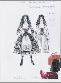 A sketch of Christine's Don Juan Trimuphant costume from The Phantom of the Opera, designed by by the talent Maria Björnson. Inspired by Spanish folklore, this costume uses peach color silk taffeta, with contrast embroidery and brocade stomacher. Image courtesy of The Phantom US Tour