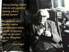 On August developmental psychologist and philosopher Jean Piaget was born. Piaget's theories of child development continue to b. Child Development Chart, Child Development Activities, Development Quotes, Jean Piaget, Learning Theory, Play Based Learning, Piaget Theory, James Baldwin Quotes, Classroom Management Strategies