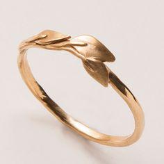 Leaves Ring - 14K Gold Ring, unisex ring, wedding ring, wedding band, leaf ring, filigree, antique, art nouveau, vintage. $255.00, via Etsy.