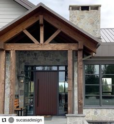 A stunning truss-accented covered entry design by SU CASA with Westeck custom charcoal windows throughout. Beautiful! Su Casa Design (@sucasadesign) • Instagram photos and videos #customhomes #design #windowdesign #customwindows #paintedwindowframes #fenestration #entryways #beautifulhomespacificnorthwest Painted Window Frames, Custom Windows, Window Design, Exterior Doors, Wood Doors, Windows And Doors, Custom Homes, Beautiful Homes, Gazebo