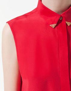 SILK SHIRT WITH APPLIQUÉ ON COLLAR - Shirts - Woman - ZARA United States