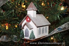 Glitter House Church from ChristmasVillage.co Christmas Crafts, Christmas Ornaments, Glitter Houses, Gingerbread, Card Stock, Holiday Decor, Home Decor, Decoration Home, Room Decor