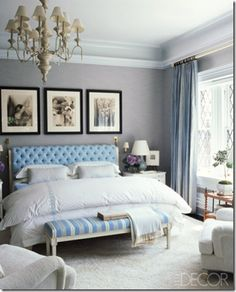 Love it! Relaxed English countryside feeling but a little glammed up with the B pics and tufted headboard. Blue gray color