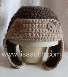 Crochet Baby Hat Pattern Aviator Hat perfect for boys Hurray a free pattern! Crochet Diy, Crochet For Kids, Crochet Crafts, Crochet Projects, Crochet Baby Hat Patterns, Crochet Baby Beanie, Baby Patterns, Sombrero A Crochet, Baby Hut