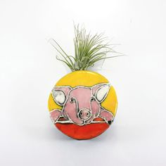 Pig Magnet Wall Bud Vase holds water, flower, air plant, pencil pen holder - pink, yellow, orange with knit texture border, made to order