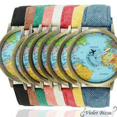 Plane World Map Pattern Travel Watches Denim Quartz Watch Cusual Dress Watch 50 - Shopping Guide Map Watch, World Map Design, Casual Watches, Fashion Watches, Women's Watches, Jewelry Watches, World Traveler, Travel Accessories, Shopping