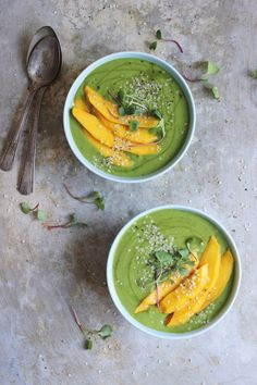 Banana Mango Green Smoothie Bowls with Hemp Seeds + Sprouts.
