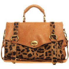 Asos Premium Leather Bag With Leopard Print Trim