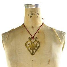 BIG Tribal Brass Heart Necklace / Vintage 1970s Pendant on Leather Strap $42.00