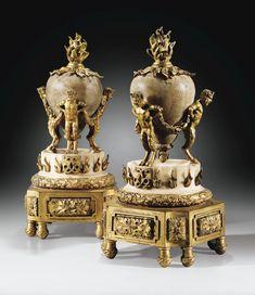 pair of gilt-bronze, alabaster & marble chenets, 23x10, ca 1780, BI'd 30-50K euro