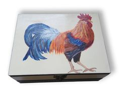 Rooster paintingGift box RoosterMemory boxRooster on by IwanaWolf