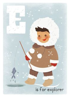Eskimo Childrens Boys Art Print 5x7 Letter Print by kindygarden