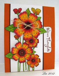 Made for Virginia's View at Lily Pad Cards, using Letraset alcohol markers.  I used the tall poppy stamp as my base, then covered most of the flowers with the Dotted Flowers, inserting leaves where the design underneath wasn't quite covered.  This was my first experience using alcohol inks in such bright colors, and I want to thank  Kathy for her help.  See this video and this one.  Please visit my blog for more details.  supplies: CG291 Three Dotted Flowers CL449 Delicate Blossoms CL497…