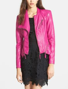 A pink leather jacket for the perfect burst of color.