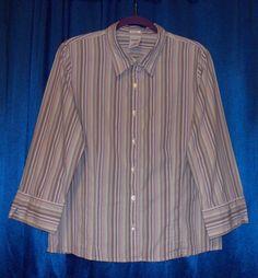 Pastel stripes cotton/Spandex 3/4 sleeve shirt XL Extra Large Old Navy #OldNavy #ButtonDownShirt #Career