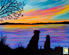 Dog Cat Silhouette Sip and Paint Party